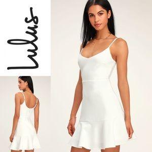 NWT LULU'S Stylize White Flounce Hem Mini Dress